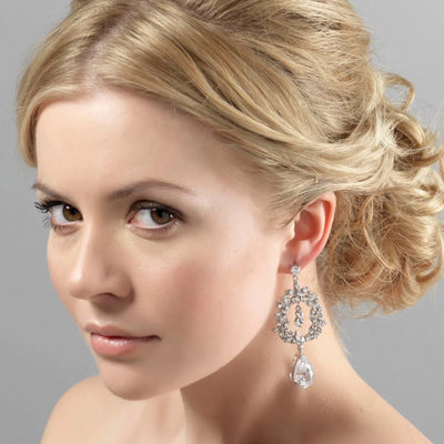 Model bride wears Dramatically Precious Chandelier Earrings