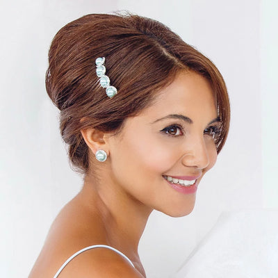 Duck Egg Dream Wedding Hair Comb shown on our model bridesmaid