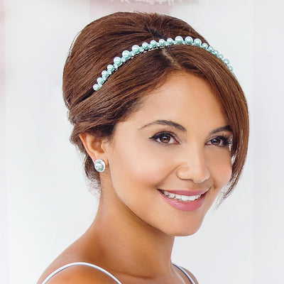 Duck Egg Dream Headband styled in retro Beehive bridesmaid hairstyle