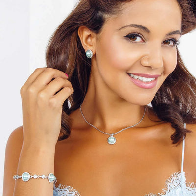 Duck Egg Dream Blue Pearl Pendant shown on our model bridesmaid