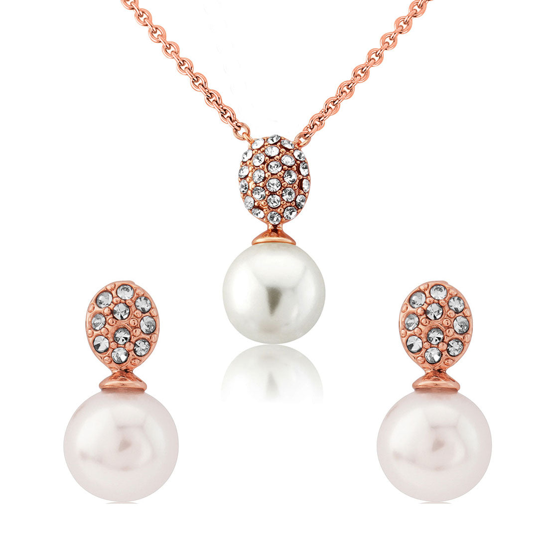Elegance of Rose Gold Pearl Bridal Jewellery Set