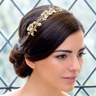 Enchanting Dream Gold Wedding Tiara shown on our model bride