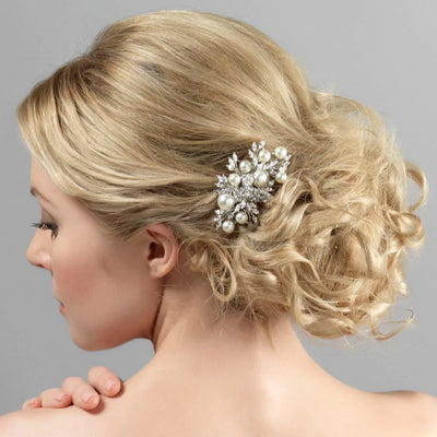 Enchanting Pearl Wedding Hair Comb shown on our model bride