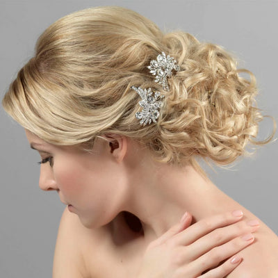 Model wears Enchanting Sparkle Bridal Hair Pins