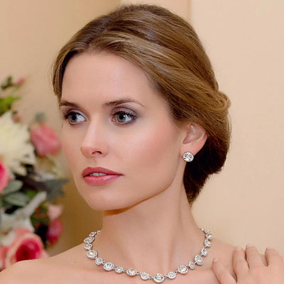 Model wears Eternally Timeless Crystal Stud Earrings