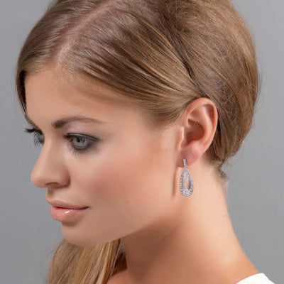 Model wears Exquisite Extravagance Crystal Drop Earrings