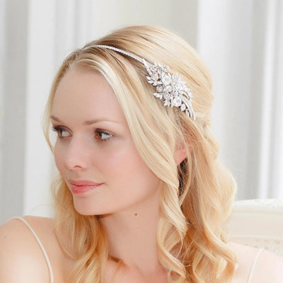 Exquisitely Precious Bridal Side Tiara shown in a half up wedding hairstyle