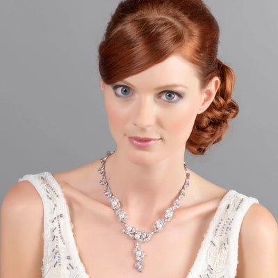 Model Wears Extravagance in Pearls Vintage Style Wedding necklace