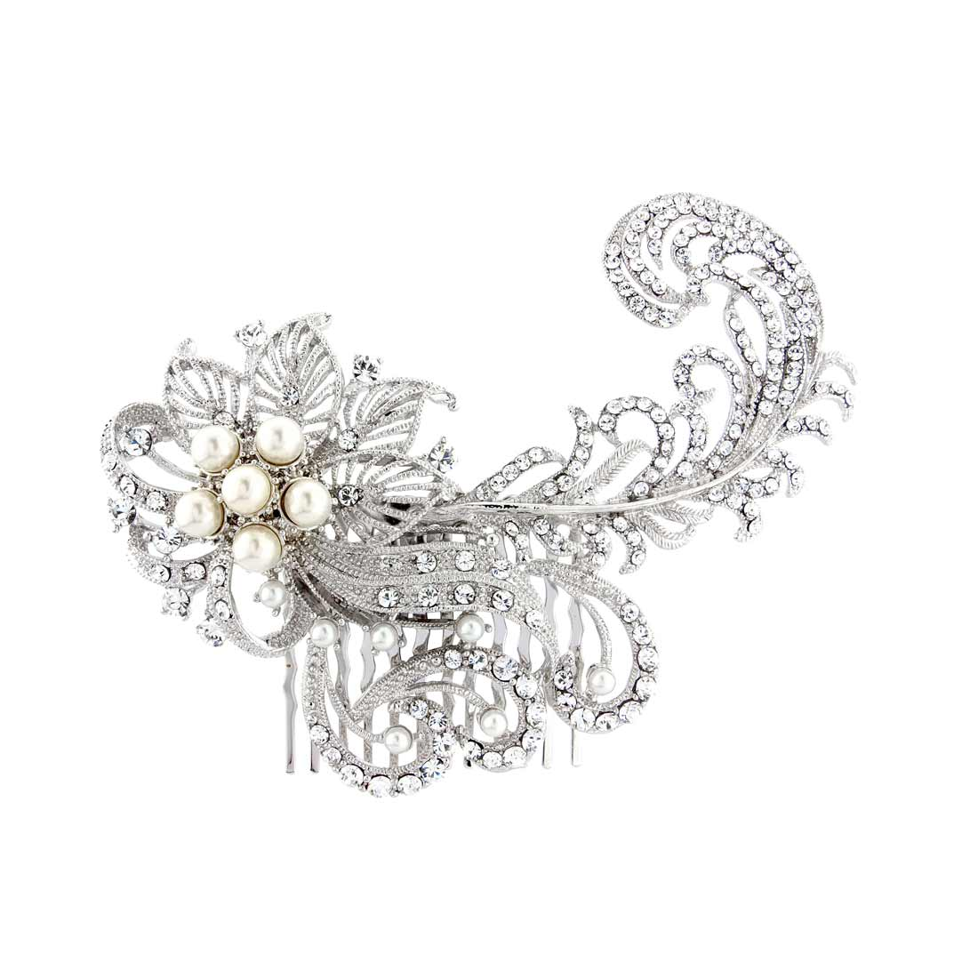 feathers and flowers hair comb | hair accessories | glitzy secrets