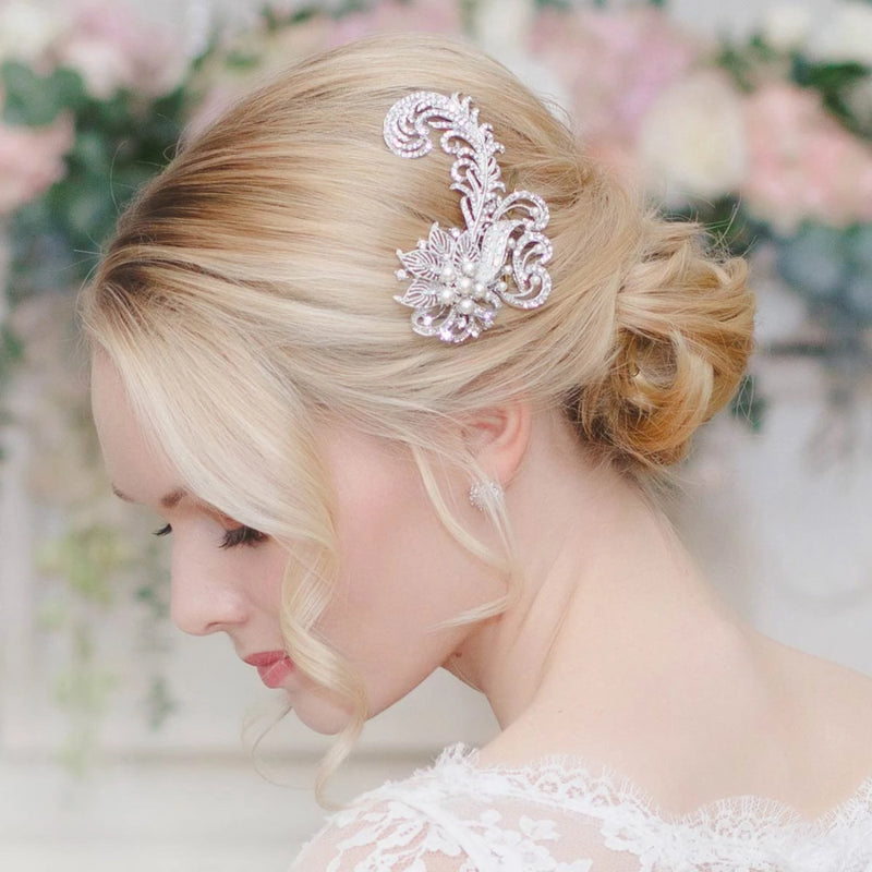 Feathers and Flowers Vintage Wedding Hair Comb