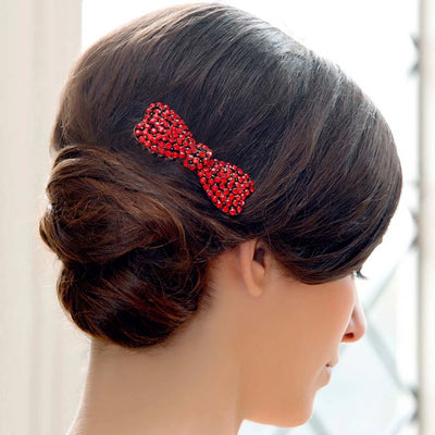 Fifties Siren Red Hair Comb styled in a chignon hairstyle