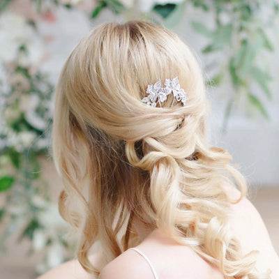 Floral Garland Hair Pin styled in half-up loose curls
