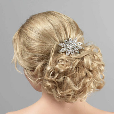 Flower of Paradise Hair Clip styled in a loose tousled up-do