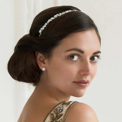 Forever Gold Headband adorning a classic bridal chignon hairstyle