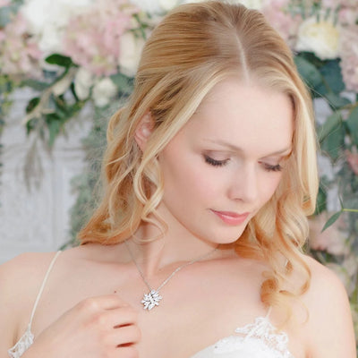 Model wears Forties Sparkle Cubic Zirconia Pendant Necklace