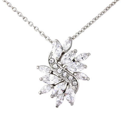 Forties Sparkle Cubic Zirconia Burst Pendant Necklace