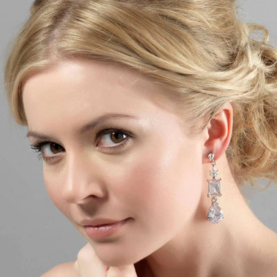 Model wears Forties Starlet Drop Cubic Zirconia Earrings