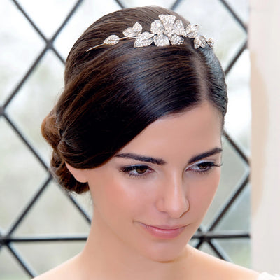 Garland of Beauty Wedding Tiara shown in a classic bridal updo