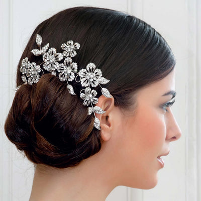 Garland of Elegance Wedding Headpiece shown in a chic bridal chignon