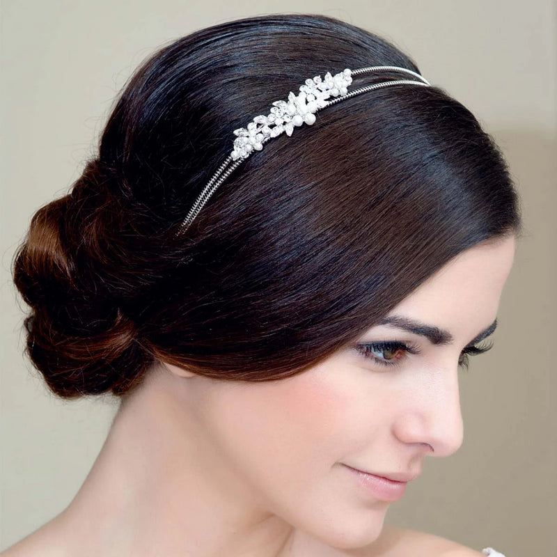 Garland of Pearls Floral Bridal Headband