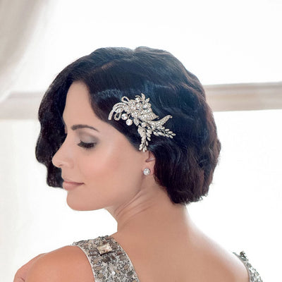 Gatsby Allure Headpiece shown in a classic 1920's wedding hairstyle