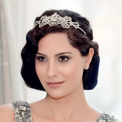 Gatsby Beauty Tiara shown on our model bride in a 20's bridal hairstyle