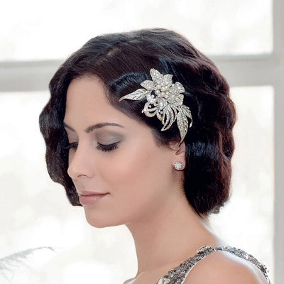 Gatsby Petals bridal headpiece shown on our model bride