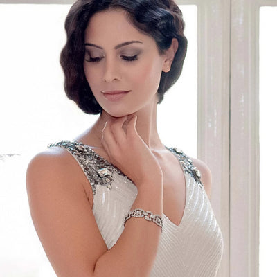 Glamour of Gatsby Bridal Bracelet as shown on our model bride