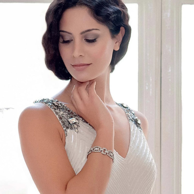 Glamour of Gatsby art deco crystal wedding bracelet