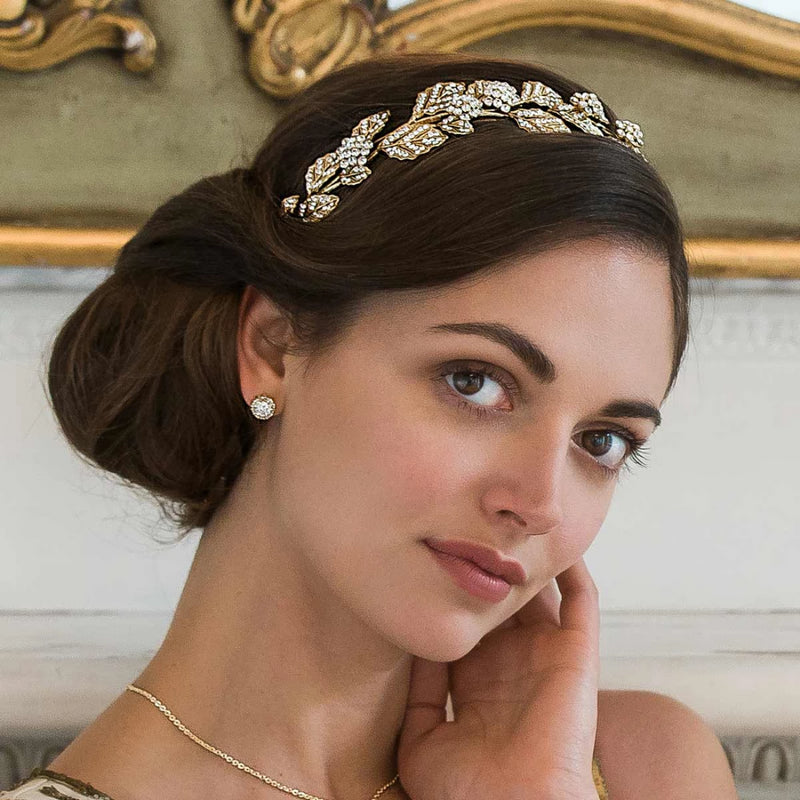 Gold Leaf crystal wedding side tiara