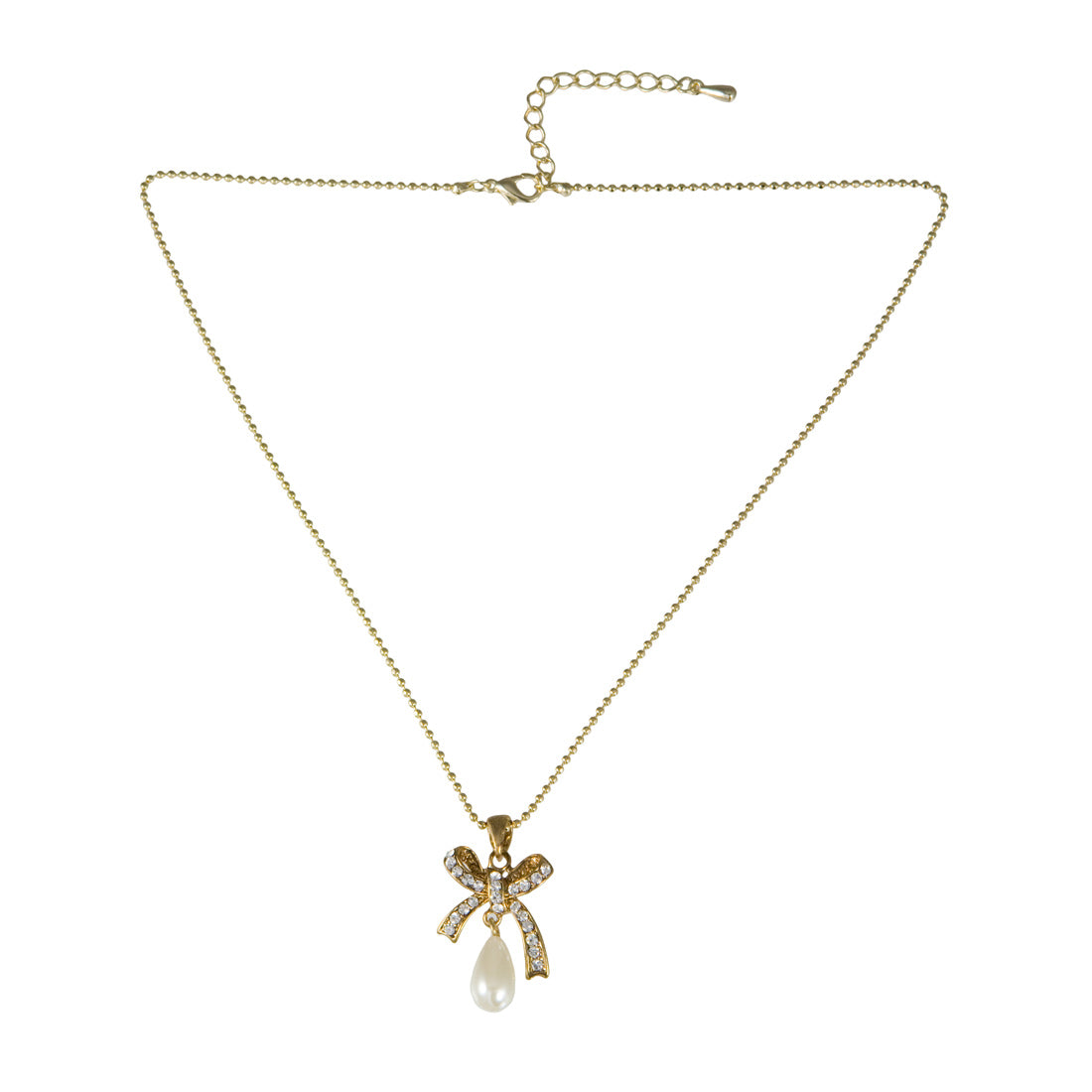 Golden Beau Crystal and Pearl Bow Fashion Pendant