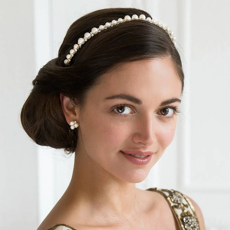 Golden Beauty crystal and pearl wedding headband