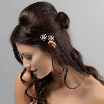 Golden Charm Hair Slides shown in a tousled half up wedding hairstyle