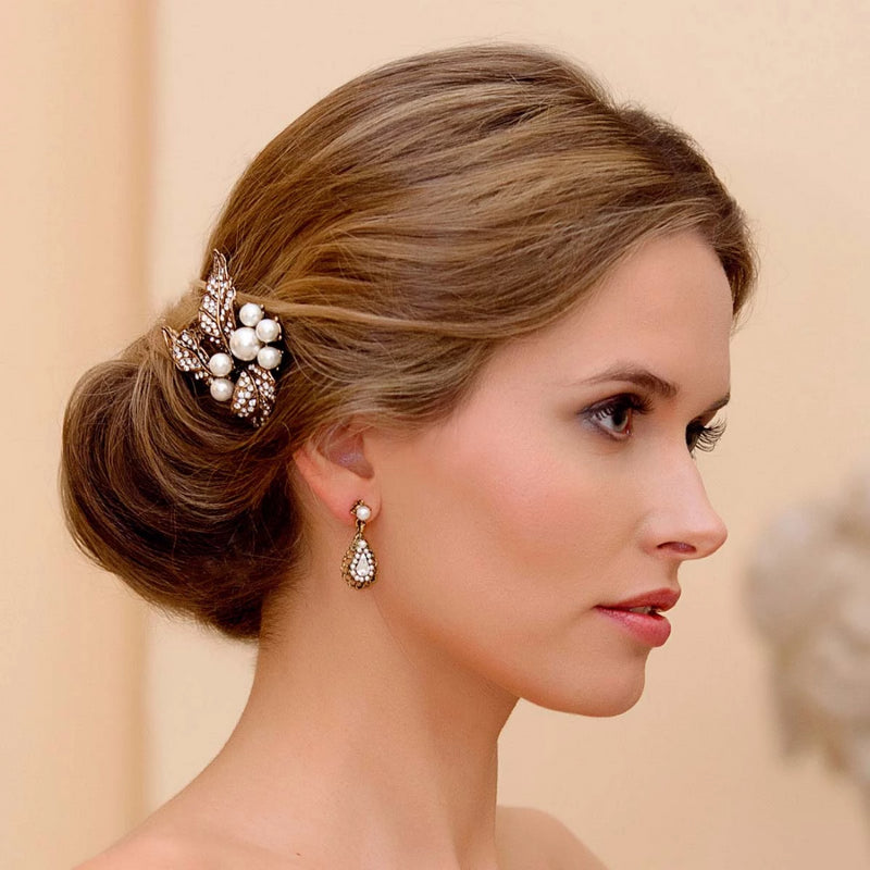 Golden Leaves crystal and pearl gold wedding hair pin