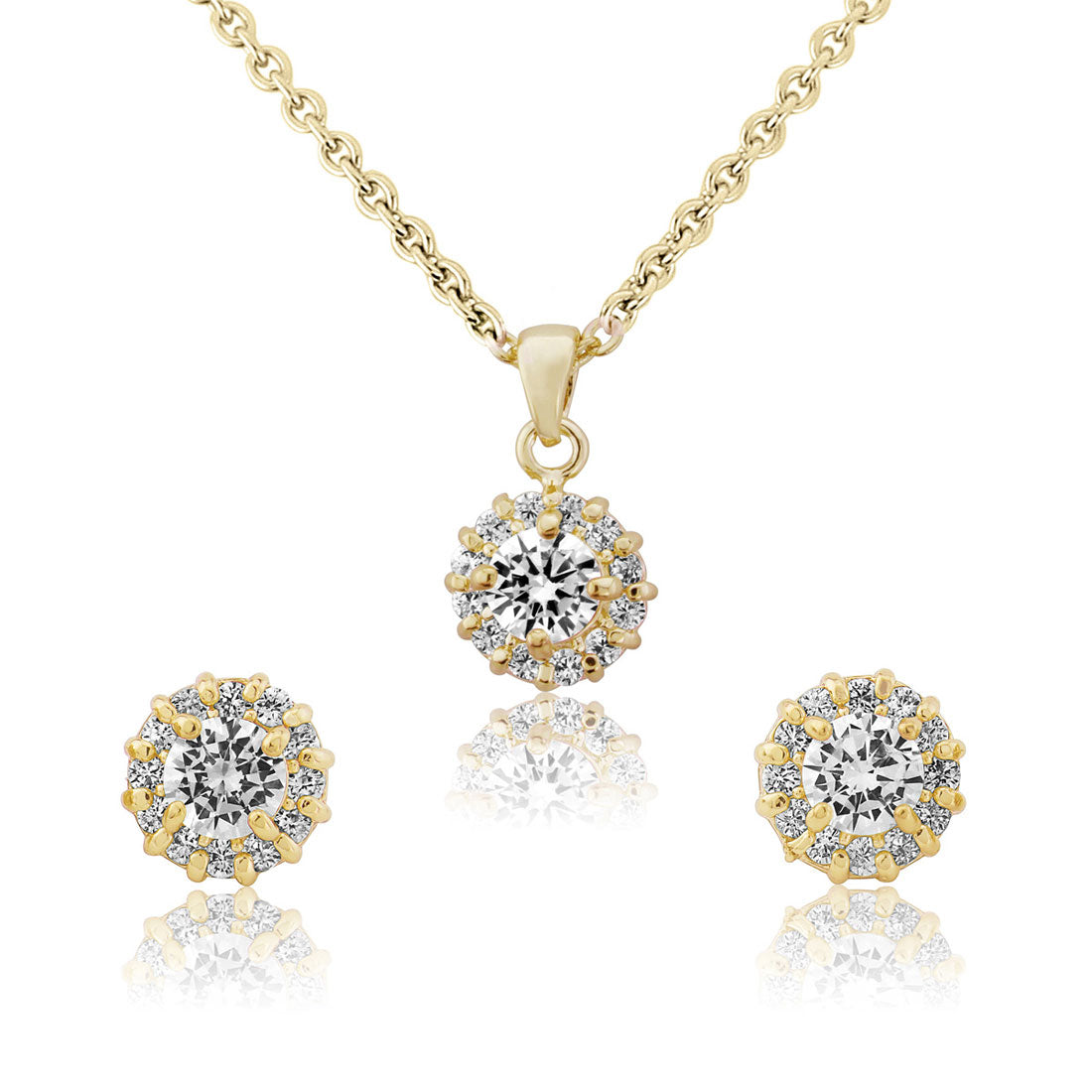 Golden Starlet Cubic Zirconia Jewellery Set with stud earrings and pendant