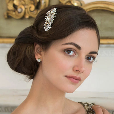 Golden Treasure Bridal Hair Comb shown in an elegant wedding updo