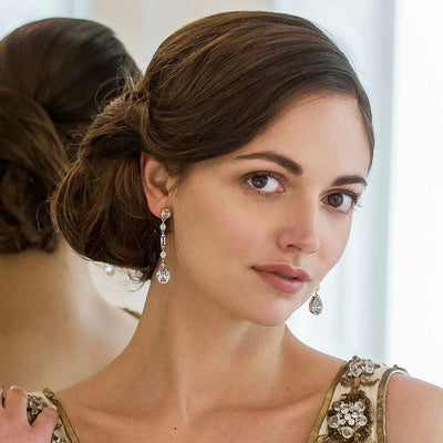 Grace of Gold Crystal Drop Earrings shown on our model bride