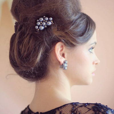 Grace of Grey Hair Comb shown in an elegant updo hairstyle