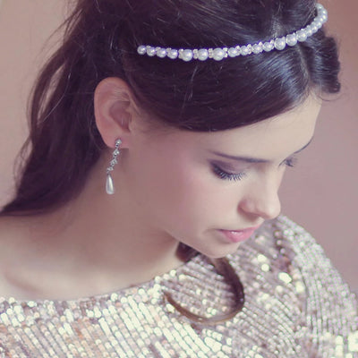 Model bride wears Graceful Beauty Pearl Wedding Headband