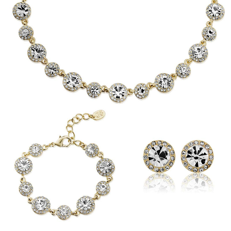 Graceful in Gold Crystal Jewellery Set featuring necklace, bracelet and earrings