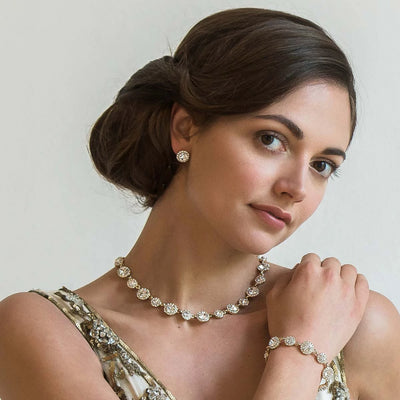 Graceful in Gold Crystal Collar Necklace worn by our model bride