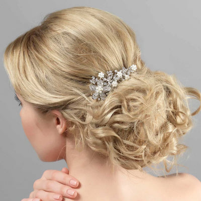 Graceful Pearl Wedding Hair Comb shown in a tousled bridal updo