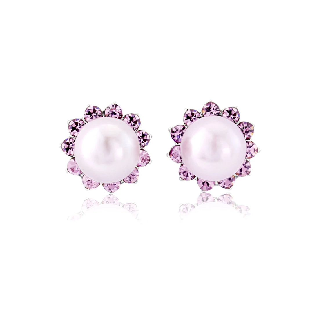 Haze of Amethyst Pearl Stud Earrings