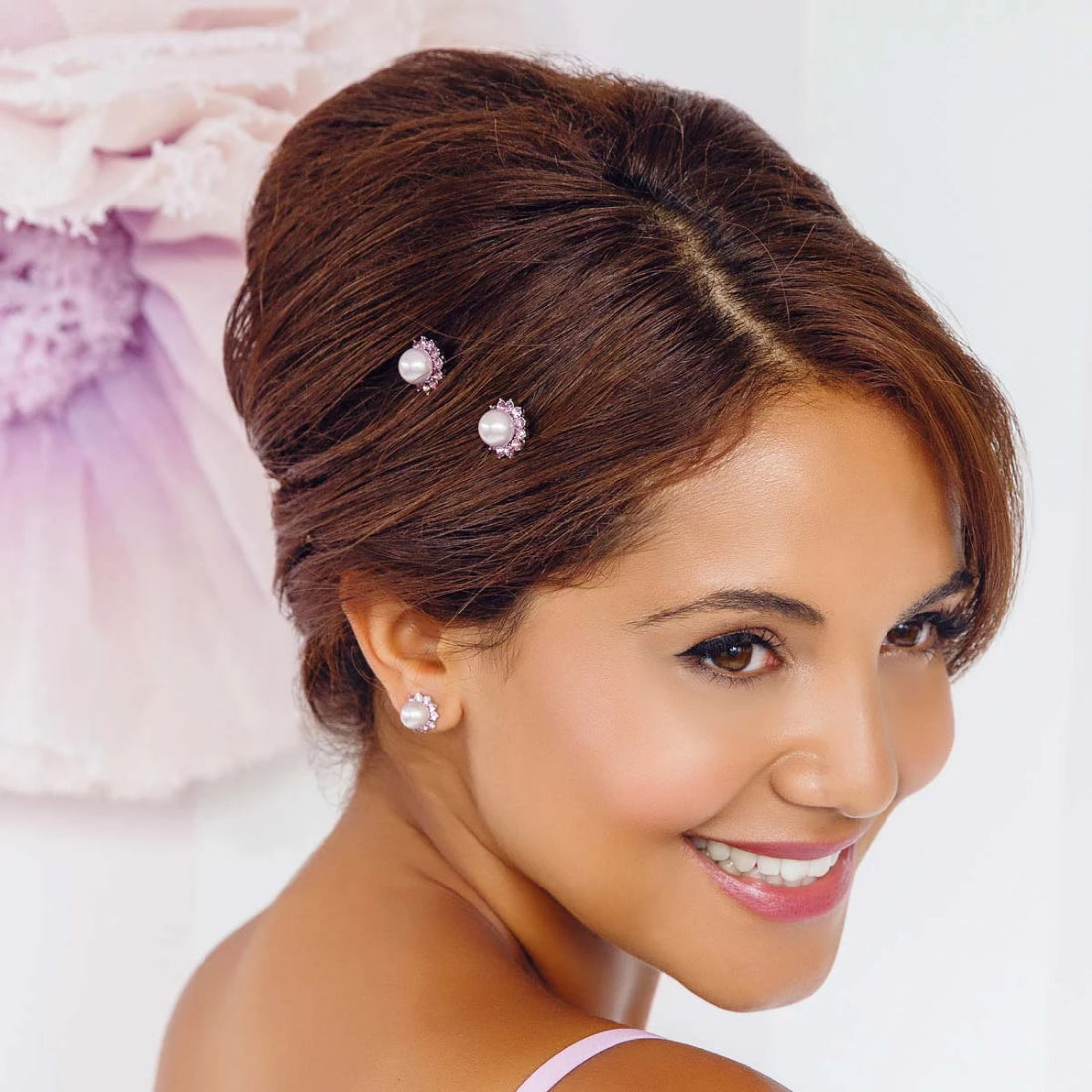 Haze of Amethyst Wedding Hair Pins shown on our model bride