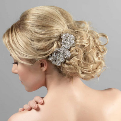 Model wears Heirloom Bow Large Vintage Style Hair Clip