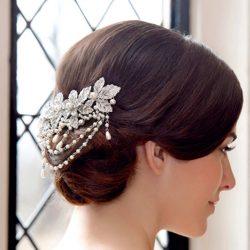 Heirloom Leaves Crystal and Pearl Hair Clip