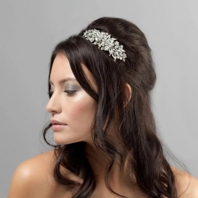 Heirloom of Beauty AB Crystal Wedding Side Tiara shown on our model bride