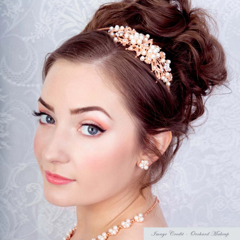 Heirloom of Rose Gold and Pearl Side Tiara