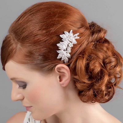 Leaves of Beauty Wedding Hair Comb styled in a vintage chignon hairstyle