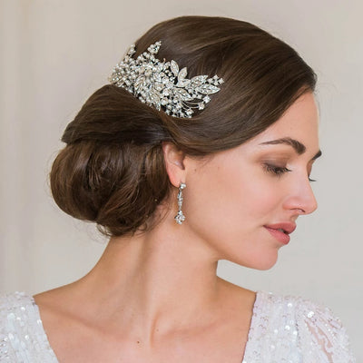 Leaves of Glamour Wedding Headpiece styled in a side chignon bridal hairstyle
